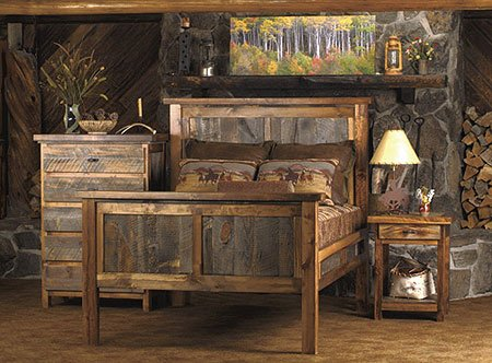 Bedroom furniture made from reclaimed wood