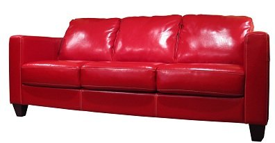 Shiny red leather lounge suite
